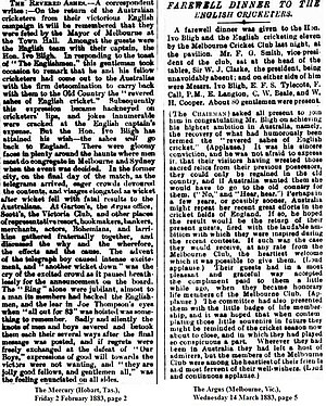 English cricket team in Australia in 1882–83 - The Revered Ashes described in newspapers from 1883