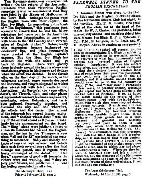 The Revered Ashes Described In Newspapers From 1883