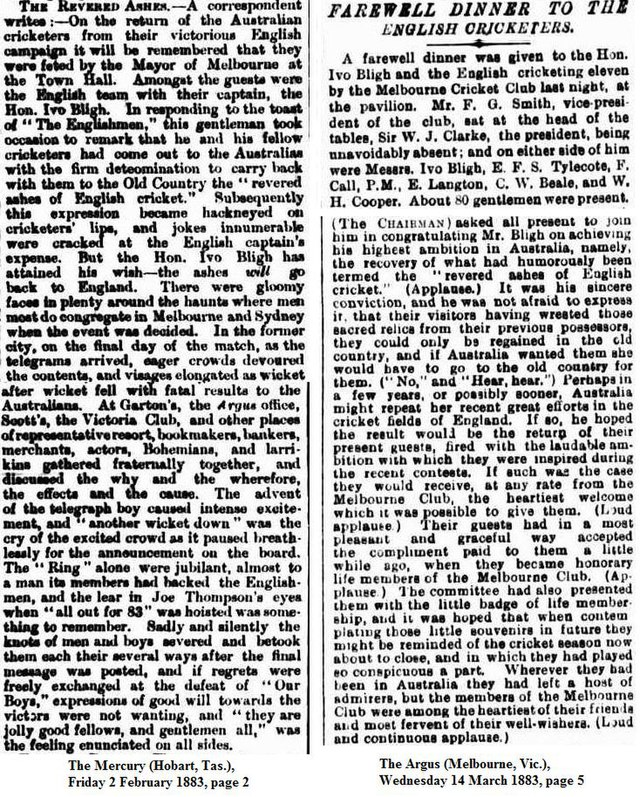 The Revered Ashes Described In Newspapers From 1883 England National Cricket Team