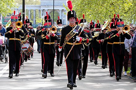 The oldest band in the British Army is the Royal Artillery Band, which can trace its origins to the Battle of St. Quentin, in 1557. The Royal Artillery Band (16748454504).jpg