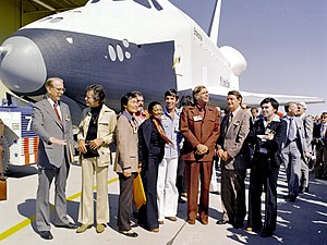 James C. Fletcher - Dr. James Fletcher (left) with the cast of Star Trek in front of the Space Shuttle Enterprise at the Palmdale manufacturing facility.