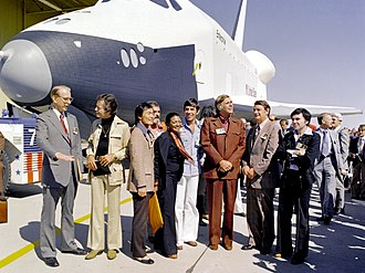 United States Air Force Plant 42 - The Space Shuttle Enterprise rolls out of the Palmdale manufacturing facilities with Star Trek television cast and crew members in September 1976.