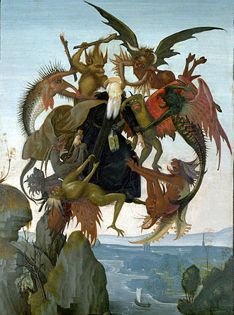 Anthony the Great - A copy by the young Michelangelo after an engraving by Martin Schongauer around 1487–9, The Torment of Saint Anthony. Oil and tempera on panel. One of many artistic depictions of Saint Anthony's trials in the desert