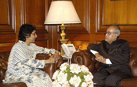 Jahangir with Pranab Mukherjee, then India's Minister of External Affairs The UN Special Rapporteur for Religious Freedoms, Ms. Asma Jahangir meeting with the Union Minister of External Affairs, Shri Pranab Mukherjee, in New Delhi on March 04, 2008.jpg