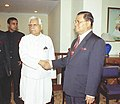 The Union Minister for External Affairs Shri K. Natwar Singh with the Senior General Mr. Than Shwe, the Chairman of State Peace & Development Council of Union of Myanmar in New Delhi on October 25, 2004.jpg