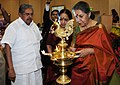 "The Union Minister for Information and Broadcasting, Smt. Ambika Soni lighting the lamp at the ""International Women's Day as part of Centenary Celebrations of Civil Aviation in India"", in New Delhi on March 08, 2011.jpg"