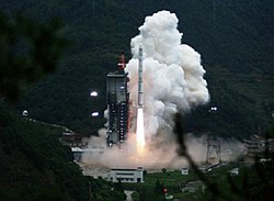 The launch of Chang'e 1 using a Long March 3A at Xichang Satellite Launch Center