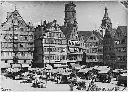The historic Stuttgart Marktplatz looking west, 1881. The old Market Place, Stuttgart.jpg