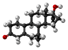Tibolone molecule ball.png