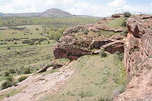 Termantia - View of rock-cut houses and surroundings