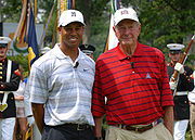 Bush with golfer Tiger Woods, July 4, 2007