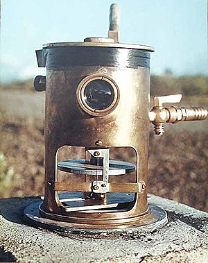Tiltmeter - A tiltmeter on Mauna Loa, used to predict eruptions by measuring very small changes in the profile of the mountain.