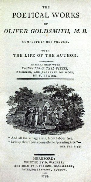 The Deserted Village - Title page of Goldsmith's poetical works, with vignette by Thomas Bewick and couplet from The Deserted Village, 1794