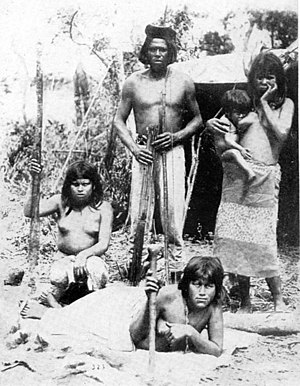 Indigenous peoples in Paraguay - Toba chief, wives, and child, Paraguai River, 1892