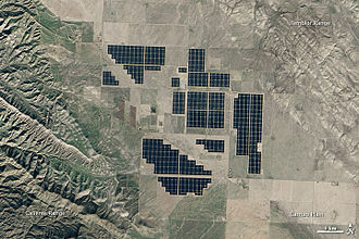 Renewable energy - Satellite image of the 550-megawatt Topaz Solar Farm in California, US