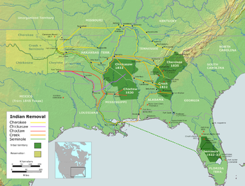 Routes of southern removals.