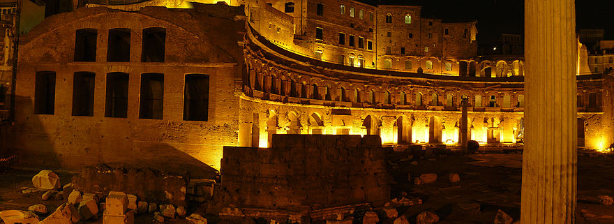 Night view of Trajan's Market, built by Apollodorus of Damascus Trajan's market.jpg