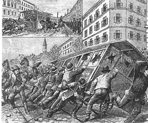Trams in Vienna - Tramway strike in Wien-Hernals, 21–22 April 1889.