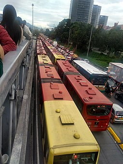 Traffic jam at TransMilenio's dedicated line TransMilenio-traffic-jam.jpg