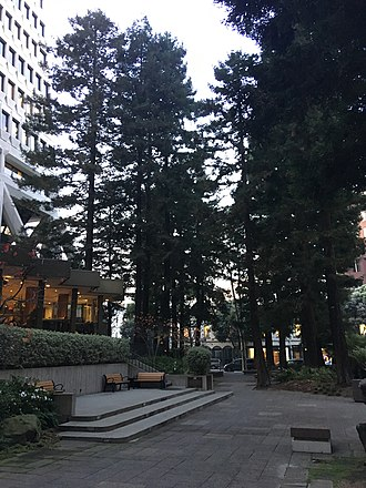 Transamerica Pyramid - The Redwood Park on the grounds of the Transamerica Pyramid at dusk