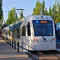 Type 5 LRVs laying over on the Blue Line in Hillsboro, May 2015