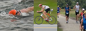 Triathlon - The three typical components of triathlon: swimming, cycling, and running.