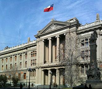 Judiciary of Chile - Justice Courts Palace (Palacio de los Tribunales de Justicia) in Santiago.