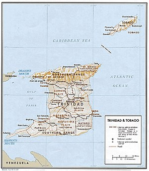 Naparima Plain - A physical relief map of Trinidad showing the Naparima Plain in the southwest.