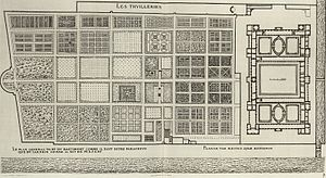 Tuileries Garden - The gardens in 1576, engraving by Jacques I Androuet du Cerceau. (The engraving also includes a plan for the expansion of the palace which was never executed.)