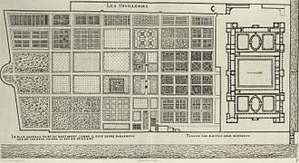 Tuileries Garden - Floor plan by Jacques I Androuet du Cerceau. The engraving also includes a plan for the expansion of the palace which was never executed.
