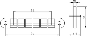 Tune-o-matic - Measurements of a typical Tune-o-matic bridge