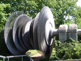 Gundremmingen Nuclear Power Plant - Retired turbine from Unit A in front of plant information center