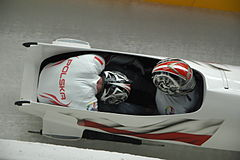 Two-man bobsleigh, 2014 Winter Olympics, Poland run 3.JPG
