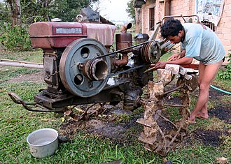 Two-wheel tractor - A Changzhou Hengfeng Two-wheel tractor ('Walking Tractor') in Hsipaw (Myanmar).