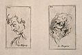 Two faces expressing scorn, one (left) in outline. Etching b Wellcome V0009381.jpg