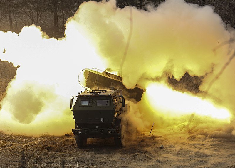 File:U.S. Marines with Delta Battery, 2nd Battalion, 14th Marine Regiment, assigned to the III Marine Expeditionary Force, fire a reduced-range practice rocket from a High Mobility Artillery Rocket System (HIMARS) 140328-M-GZ082-005.jpg