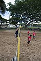 U.S. Sailors assigned to the amphibious assault ship USS Peleliu (LHA 5), right, play volleyball against Sailors assigned to the aircraft carrier USS Ronald Reagan (CVN 76) while in port at Joint Base Pearl 140628-N-YW024-146.jpg