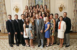 North Carolina Tar Heels - 2007 field hockey team with President George W. Bush