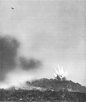 Battle of Fort Driant - An American P-47 Thunderbolt dive bombing Fort Driant before the initial attack