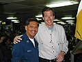 US Navy 030313-N-4964S-001 NBC anchorman Brian Williams takes a moment to pose with Dental Technician 1st Class Ervin Borja.jpg