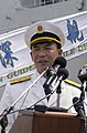 US Navy 031022-N-7293M-121 Rear Adm. Xue Tianpei, Deputy Commander of the People's Liberation Army (PLA) Navy South Sea Fleet, delivers remarks at a welcome ceremony.jpg