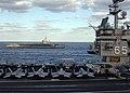 US Navy 051103-N-7748K-001 The nuclear-powered aircraft carrier USS Enterprise (CVN 65) sails alongside the Nimitz-class aircraft carrier USS Dwight D. Eisenhower (CVN 69) during an early morning vertical replenishment (VERTREP.jpg