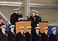 US Navy 060207-N-1325N-004 Commanding Officer USS Ohio (SSGN 726) Cmdr. Michael Cockey, left, reports to Vice Chairman of the Joints Chiefs of Staff, Adm. Edmund Giambastiani Jr., that the guided missile submarine Ohio is ready.jpg