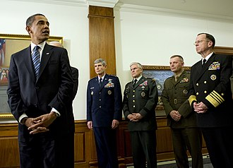 James Cartwright - (Jan. 28, 2009) President Barack Obama, with Gen. Norton Schwartz, Air Force chief of staff; Gen. George W. Casey, U.S. Army chief of staff; Gen. James E. Cartwright, Vice Chairman of the Joint Chiefs of Staff and Adm. Mike Mullen, Chairman of the Joint Chiefs of Staff, during the President's first visit to the Pentagon as the Commander-in-Chief.