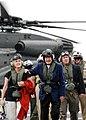 US Navy 090526-N-1981M-126 Former U.S. President George H.W. Bush and his daughter, Doro Bush Koch, walk across the flight deck of the aircraft carrier USS George H.W. Bush (CVN 77).jpg