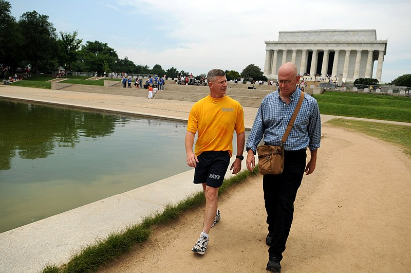 File:US Navy 090602-N-9818V-192 Master Chief Petty Officer of the Navy (MCPON) Rick West speaks with Navy Times reporter Mark Faram during a walking meeting along the National Mall.jpg