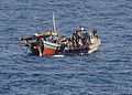 US Navy 100510-N-1082Z-119 The visit, board, search and seizure team assigned to the amphibious dock landing ship USS Ashland (LSD 48) uses a rigid-hull inflatable boat to inspect and board fishing dhows.jpg