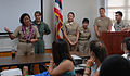 US Navy 101002-N-0535P-006 Capt. Cynthia Macri, Chief of Naval Operations Special Advisor for Minority Affairs, speaks with Kauai students at the K.jpg