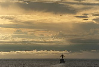 Surigao Strait - The US Navy guided-missile destroyer USS ''Gridley'' in the Surigao Strait