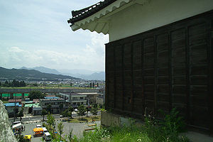 Ueda, Nagano - The city as viewed from the West Turret of Ueda Castle (foreground)